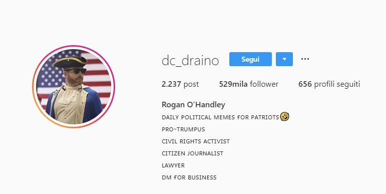 Scheda di benvenuto sul profilo di dc_draino